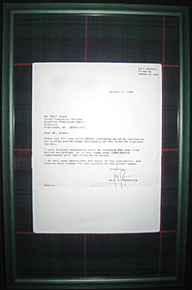NEIL ARMSTRONG FLOWN TARTAN FROM APOLLO 11 MISSION