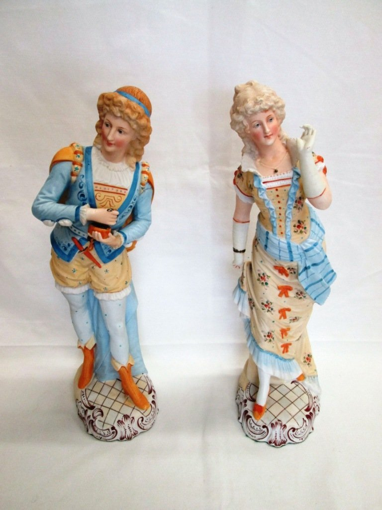 14A: PAIR OF ANTIQUE FRENCH BISQUE FIGURINES