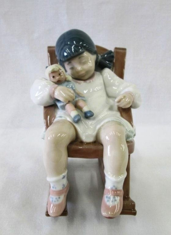 LLADRO NAPTIME GIRL ON ROCKER WITH DOLL FIGURINE