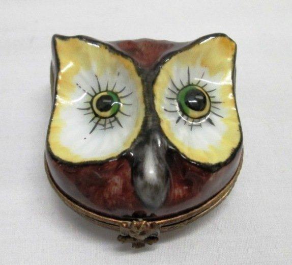 LIMOGES OWL TRINKET BOX