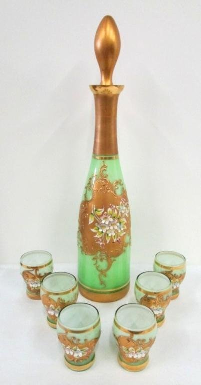 HAND BLOWN VENETIAN CRYSTAL DECANTER SET