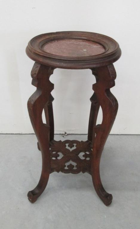CARVED WOOD PLANT STAND W/ MARBLE TOP