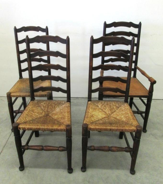 (4) ANTIQUE LADDER-BACK RUSH SEAT CHAIRS - 4) ANTIQUE LADDER-BACK RUSH SEAT CHAIRS
