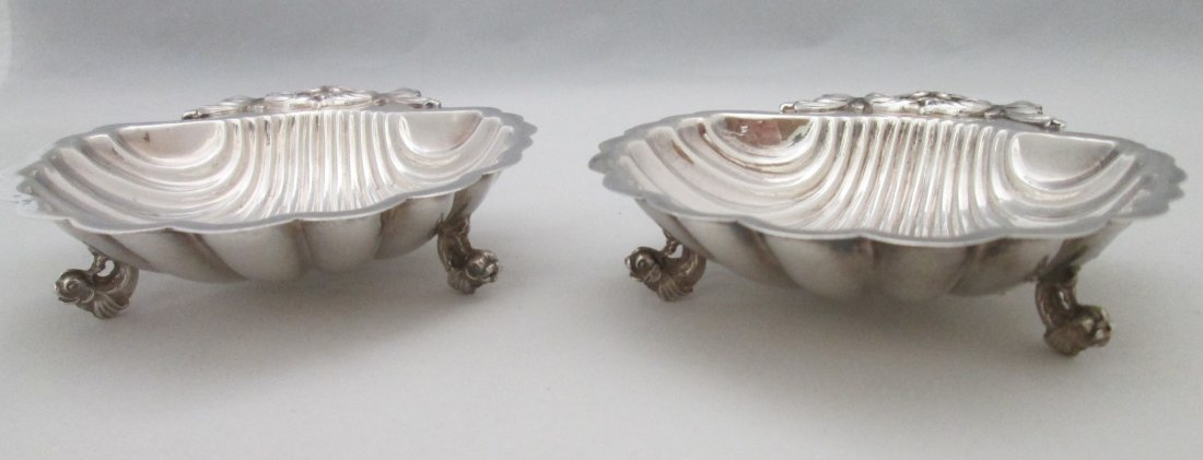 (2) STERLING SILVER FOOTED SEASHELL DISHES