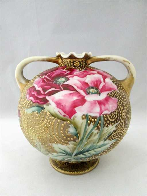 Hand Painted Nippon Coralene Vase