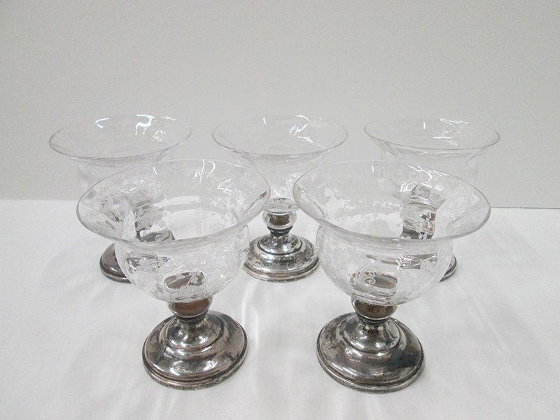 5 CAMBRIDGE CHANTILLY SHERBET GLASSES W/ STERLING BASE