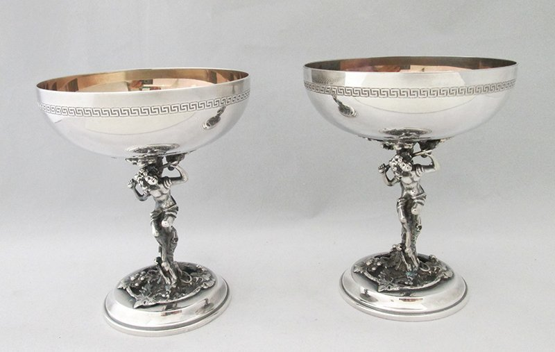 SILVERPLATE FAUN FIGURAL TOASTING GOBLETS