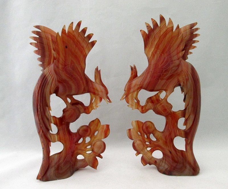 CHINESE AGATE PHOENIX BIRD CARVINGS