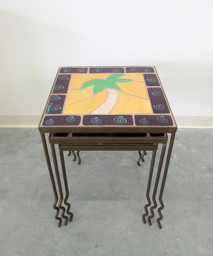 ARTIST SIGNED PALM TREE NESTING TABLES