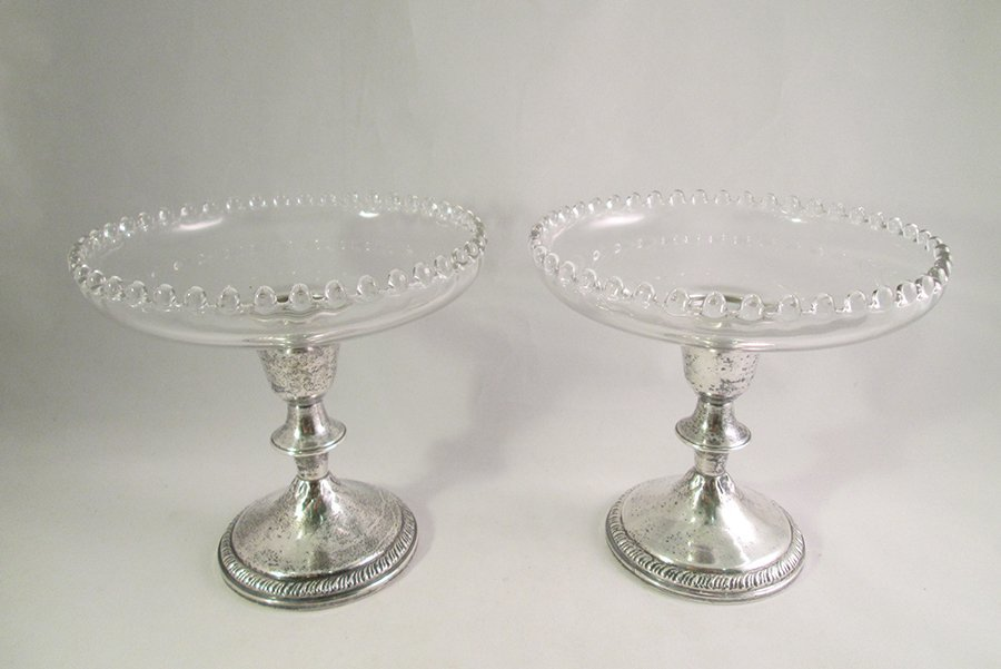 (2) STERLING & GLASS COMPOTES