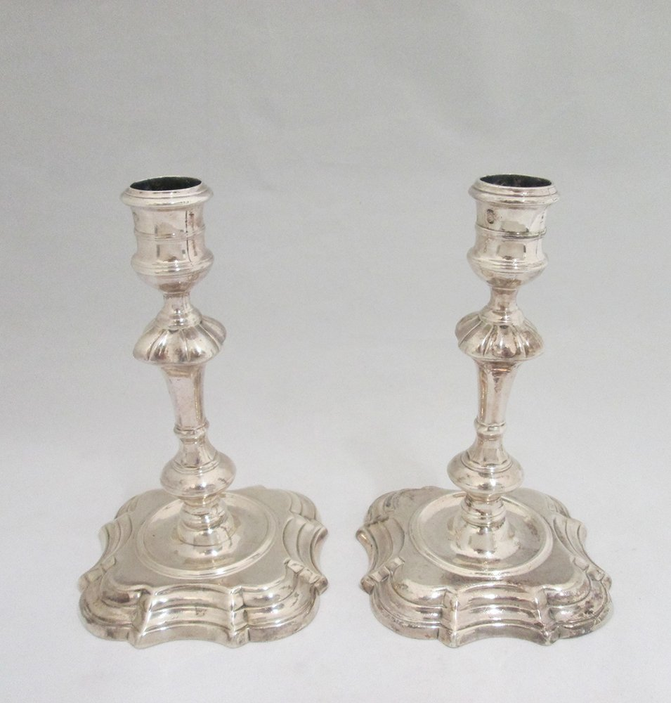 18TH CENTURY ENGLISH STERLING SILVER CANDLESTICKS