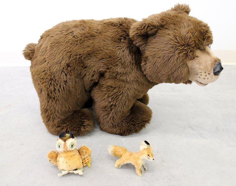 VINTAGE STEIFF BROWN BEAR, OWL & FOX
