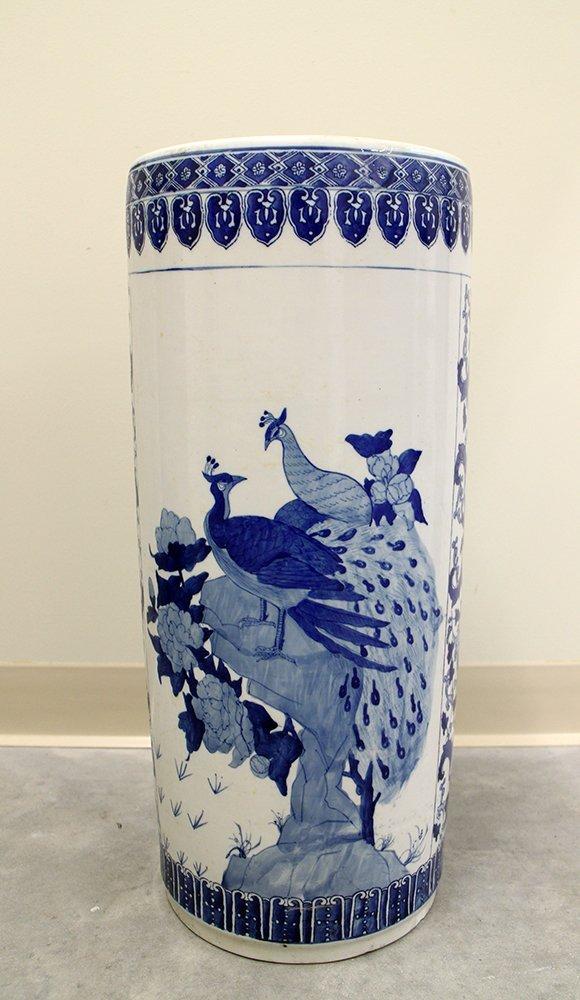 CHINESE BLUE & WHITE UMBRELLA STAND