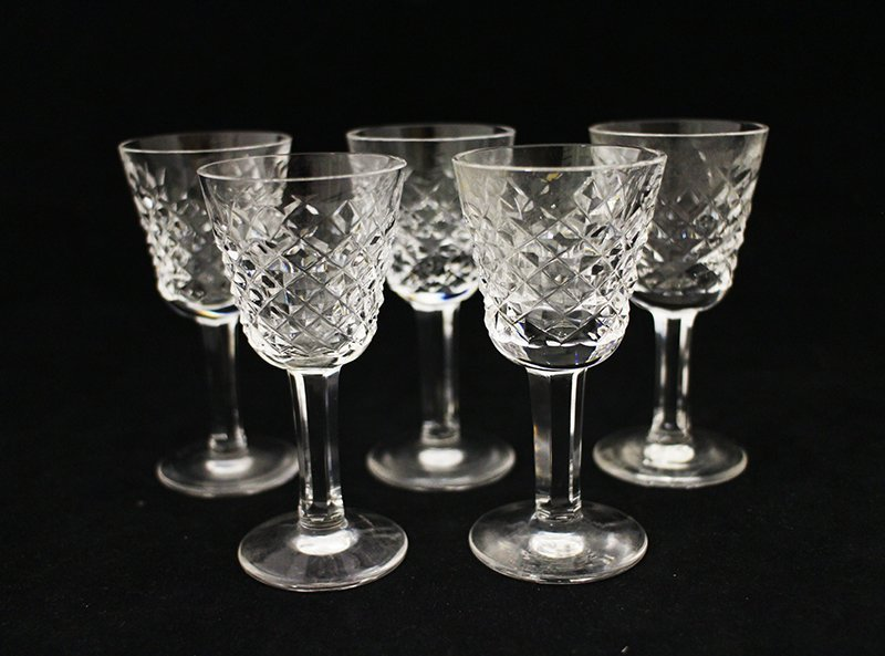 (5) WATERFORD CRYSTAL CORDIAL GLASSES