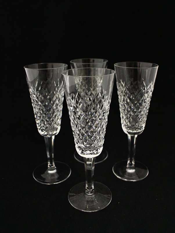 (4) WATERFORD CRYSTAL CHAMPAGNE FLUTES
