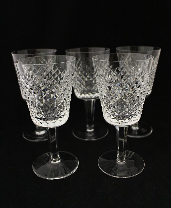 (5) WATERFORD CRYSTAL WATER GOBLETS