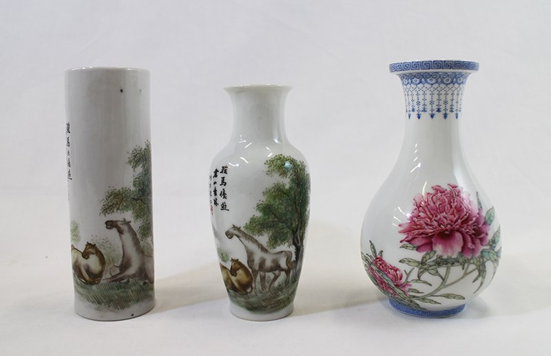 (3) SMALL CHINESE PORCELAIN VASES