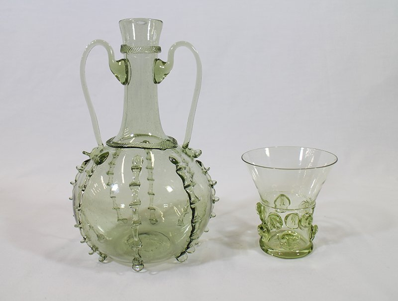 (2) GREEN BLOWN ART GLASS