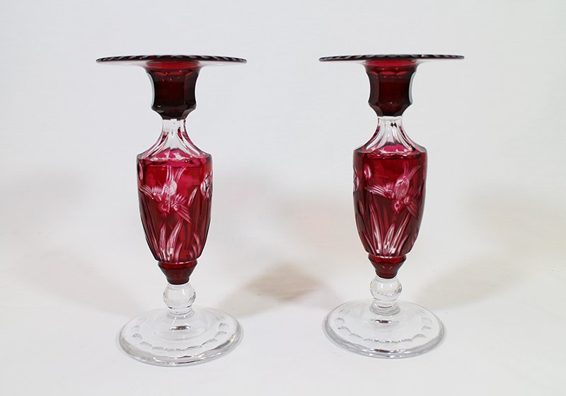 CUT TO CLEAR GLASS CANDLESTICKS