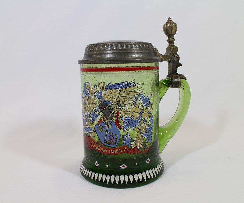 GREEN GLASS BEER STEIN