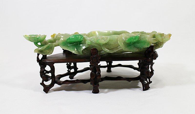 CHINESE GREEN JADE LOTUS BOWL - 4
