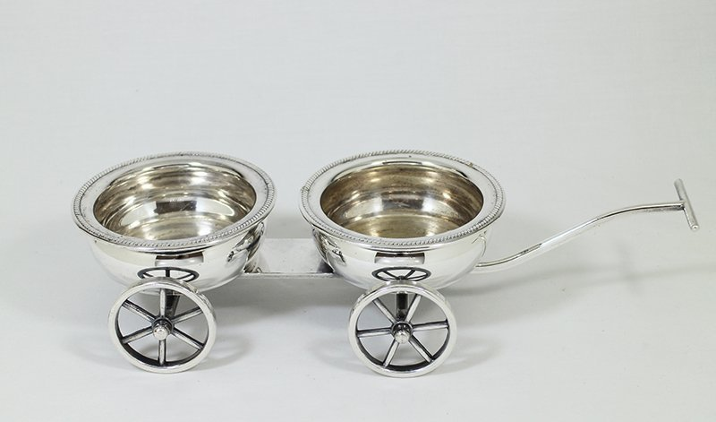 SILVERPLATE WINE COASTER WAGON