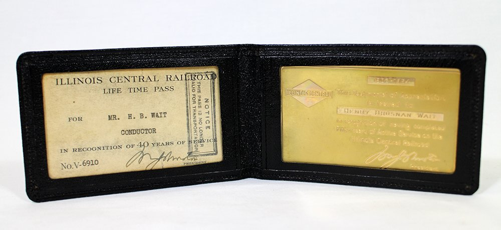ILLINOIS CENTRAL RAILROAD 14K GOLD CARD & PASS