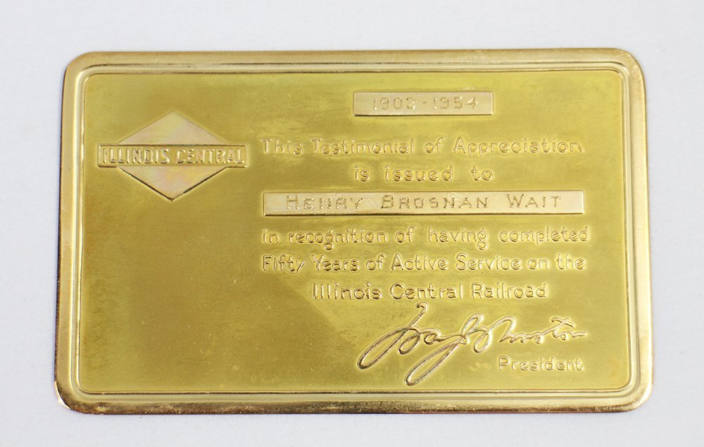 ILLINOIS CENTRAL RAILROAD 14K GOLD CARD & PASS - 2