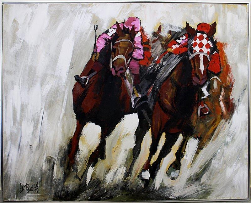 LEE REYNOLDS HORSE RACING PAINTING