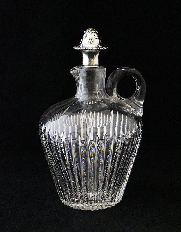 TIFFANY MAKERS CUT GLASS CRUET W/ STERLING STOPPER