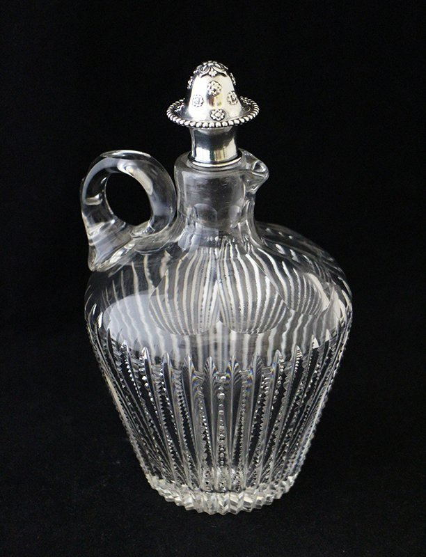 TIFFANY MAKERS CUT GLASS CRUET W/ STERLING STOPPER - 2