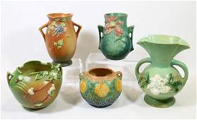 5 PIECES OF ROSEVILLE POTTERY