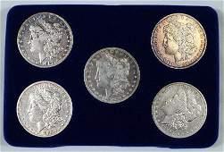 5 MORGAN SILVER DOLLAR COINS