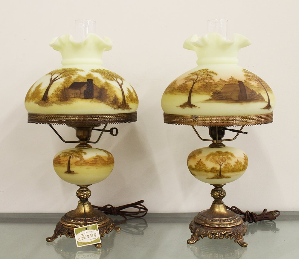 (2) HAND PAINTED FENTON LAMPS