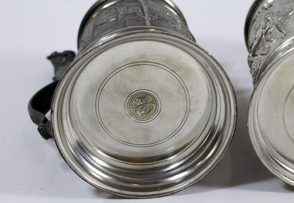(3) GERMAN PEWTER STEINS - 8