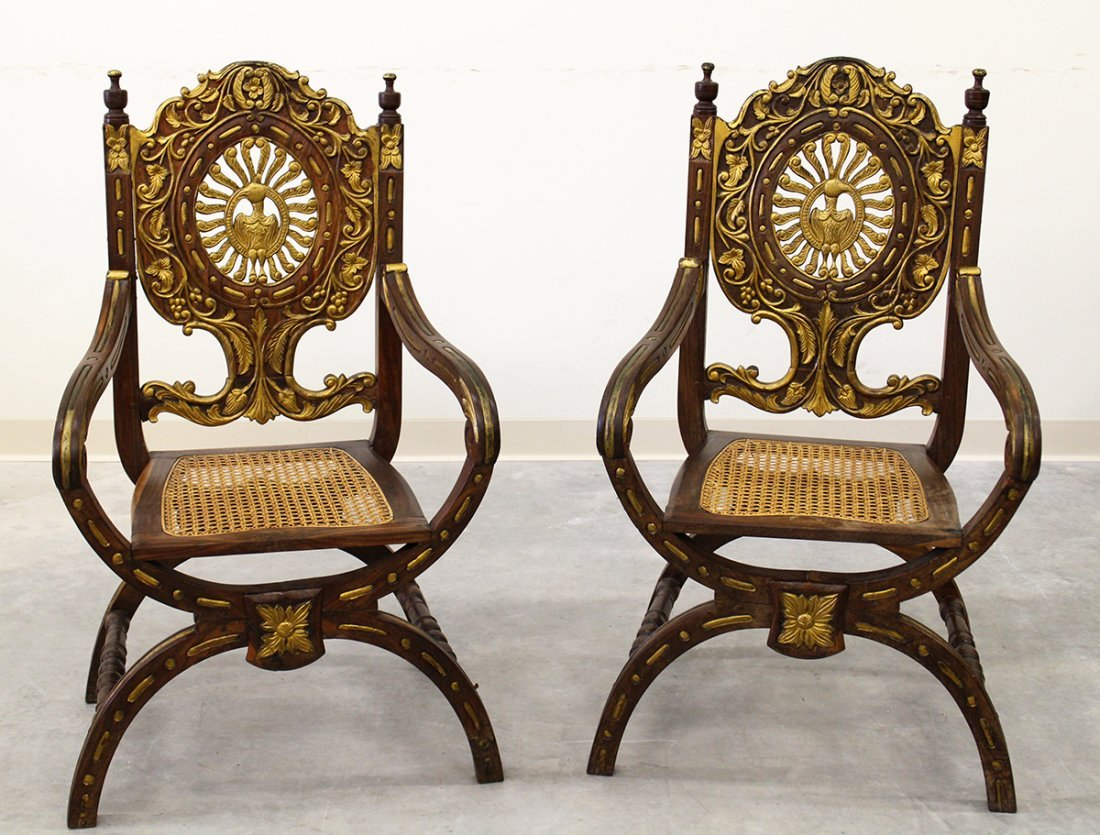 (2) INDO-PORTUGUESE ROSEWOOD OPEN ARMCHAIRS