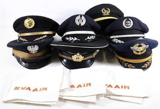 (7) VINTAGE AIRLINE PILOT HATS 91ab0b02c29