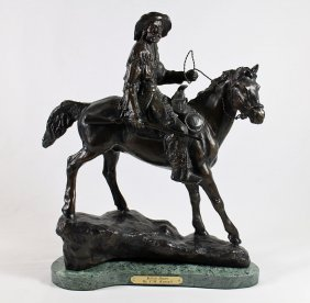 Buffalo Hunter After C.m. Russell Bronze Sculpture