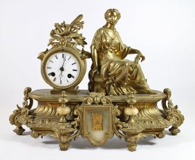 Figural Gold Gilt Clock