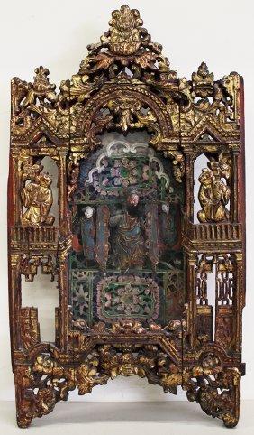 19th Century Asian Polychrome Wood Icon
