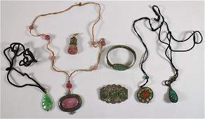 CHINESE EXPORT ENAMEL JADE CORAL JEWELRY