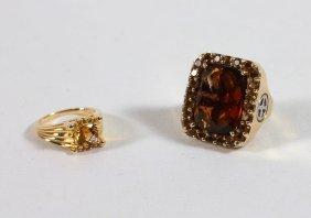(2) Sterling Gemstone Rings