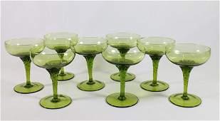 GREEN MURANO GLASS CHAMPAGNE DESERT GLASSES