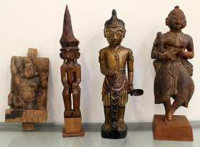 (4) Wood Statue Carvings
