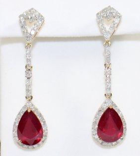 14k Gold Ruby & Diamond Dangle Earrings