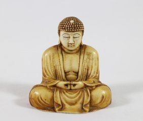 19th Cent. Ivory Seated Buddha Figurine