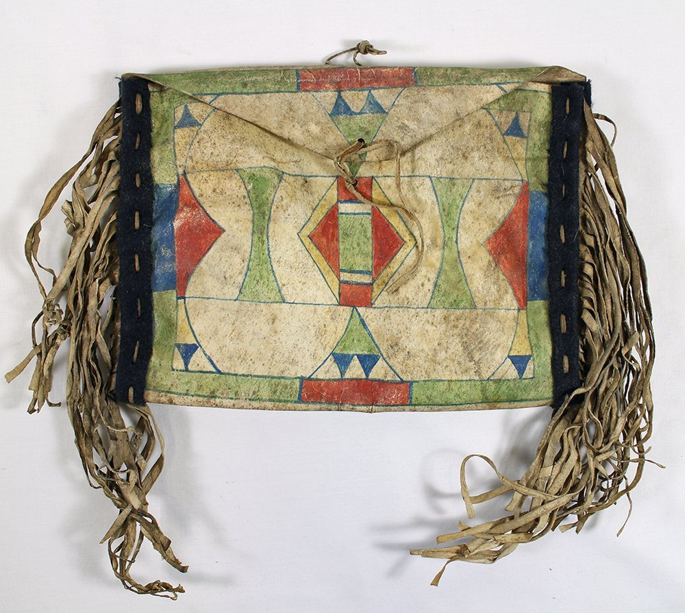 19TH C CROW AMERICAN INDIAN PARFLECHE MEDICINE BAG