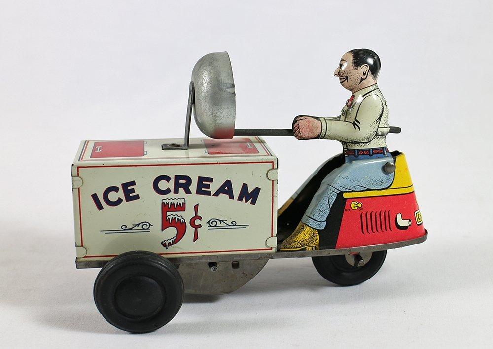 VINTAGE TIN LITHO WIND UP ICE CREAM CART