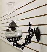 CAST IRON LAMP HOLDER & OIL LAMP