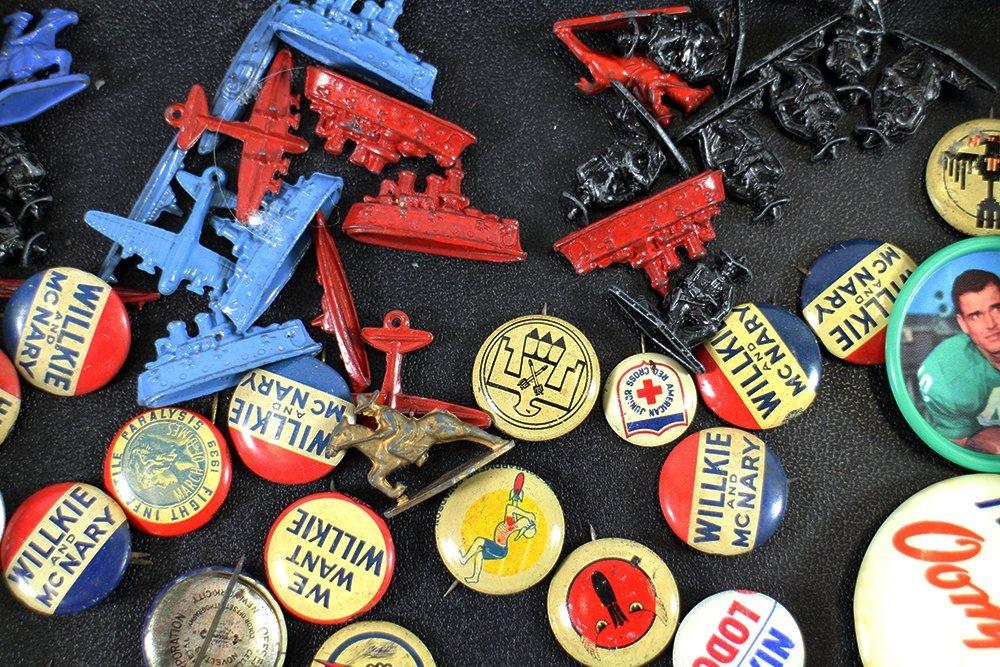 VINTAGE POLITICAL BUTTONS & CRACKER JACK TOYS - 3